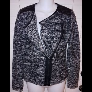 Ann Taylor marled knit moto jacket / sweater